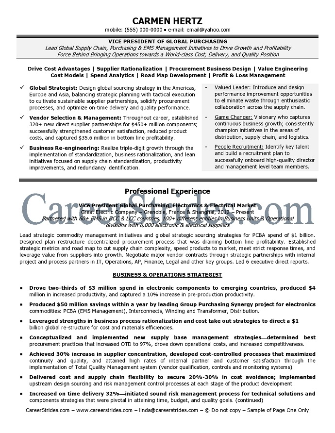 VP resume samples